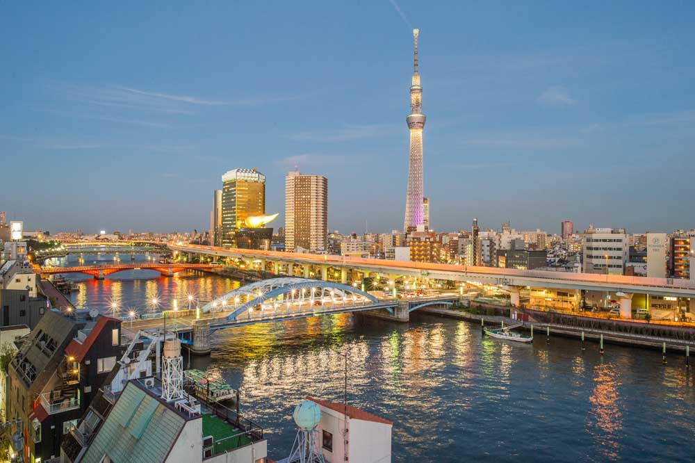 View of Sumida River, with the Tokyo Skytree in the background