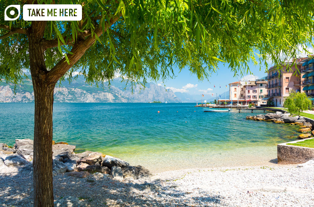 An idyllic beach on Lake Garda