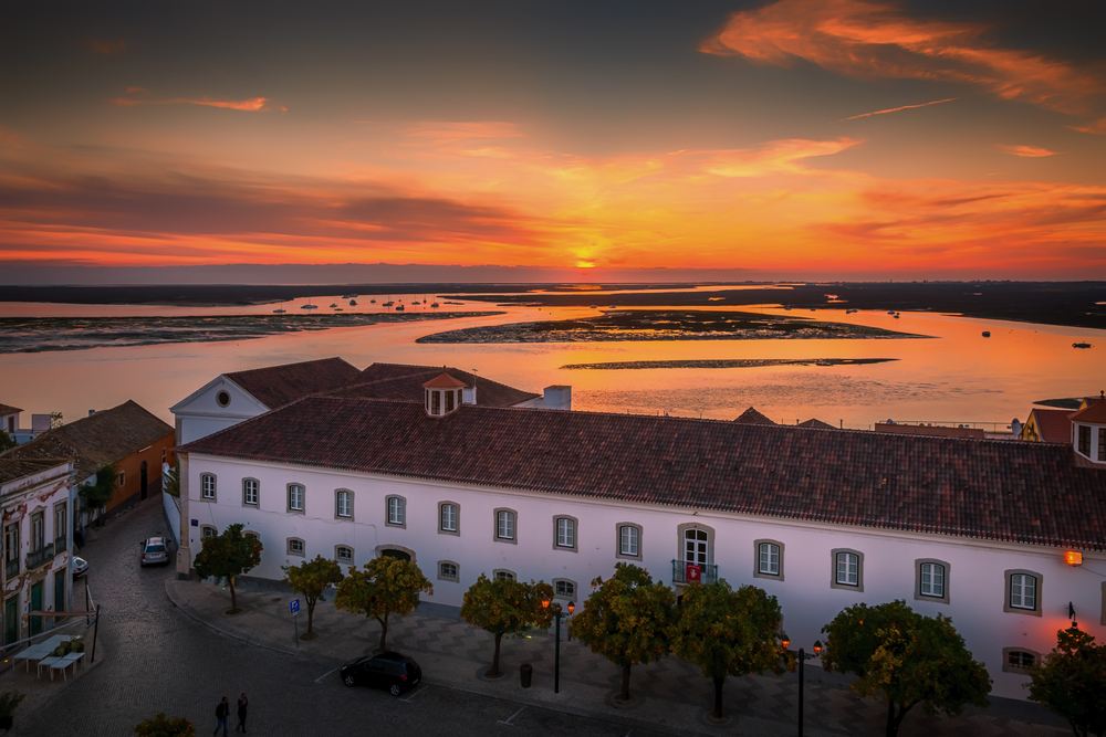 Sunset over the town of Faro, Portugal