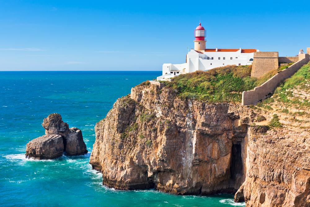 A lighthouse near the town of Sagres, Portugal