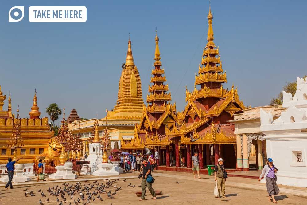 he Shwezigon Pagoda, a famous Buddhist temple in Nyaung-U, Myanmar.