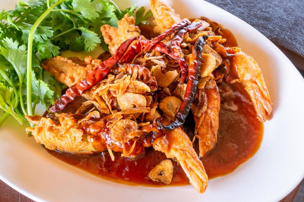 Phuket seafood dish – stir-fried shrimp with tamarind sauce.