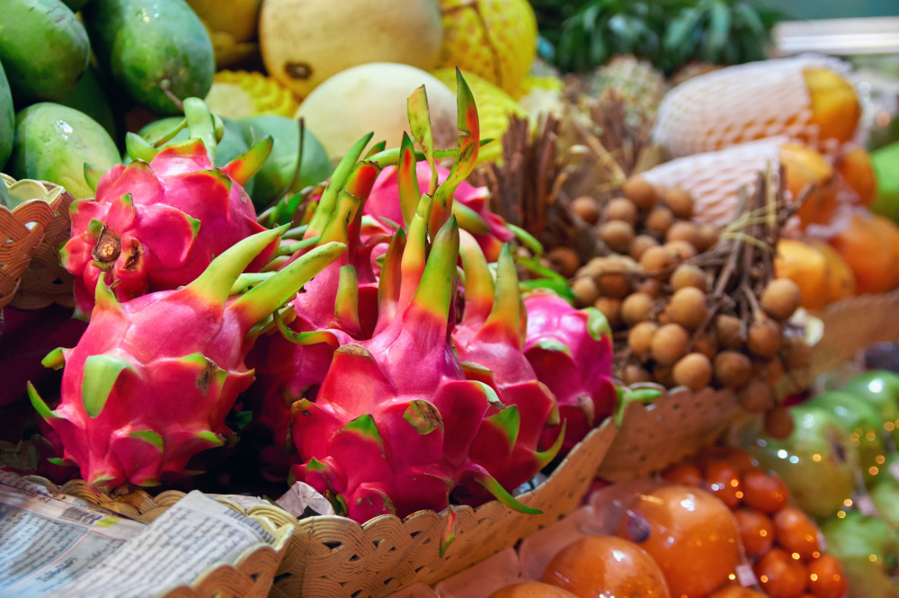 Dragon fruit (pitahaya) on a street fruit stall.