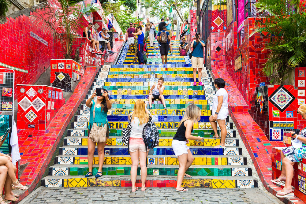 Tourists at Escadaria Selaron in Rio de Janeiro. The stairway is famous work of Chilean artist Jorge Selaron.