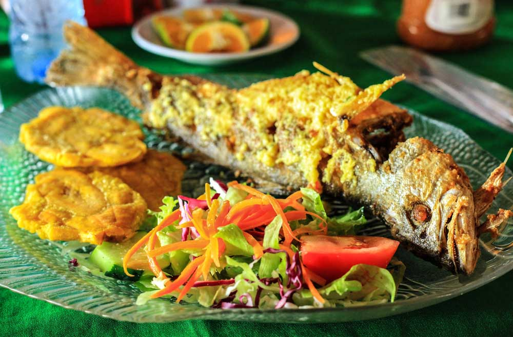 Costa Rican fried fish with plantains and salad. Photo: Shutterstock
