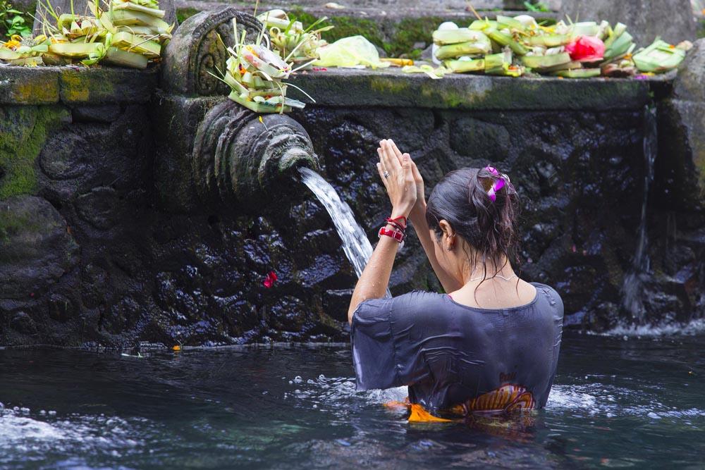 Holy Spring Water Tirta Empul Hindu Temple.