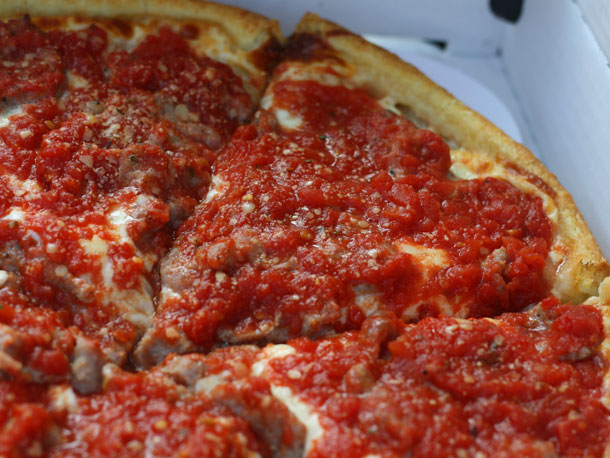 Classic Chicago deep dish pizza.