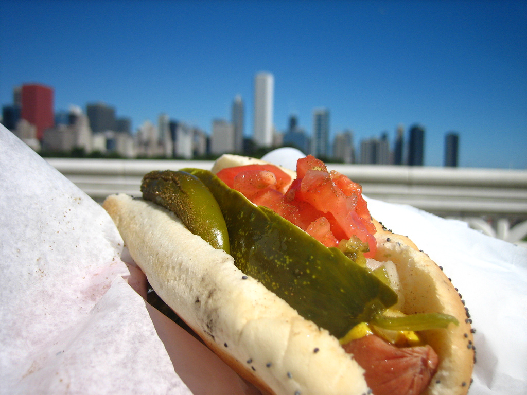 Chicago-style hot dog.