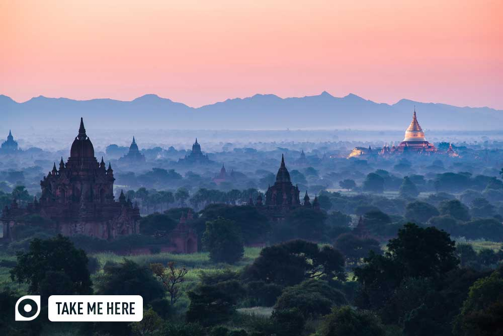 The Temples of Bagan sunrise time Bagan. Photo: Shutterstock