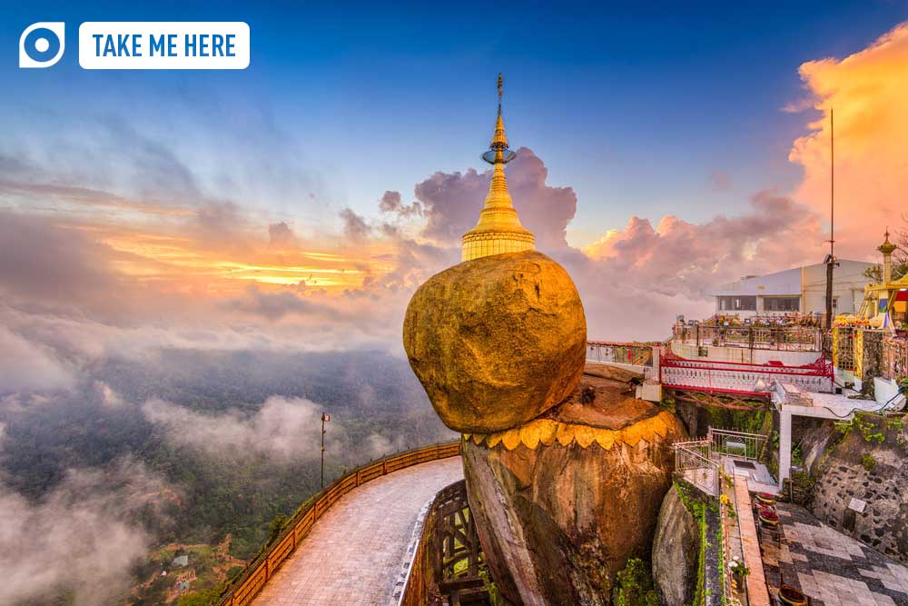 Kyaiktiyo, Myanmar at Golden Rock. Photo: Shutterstock