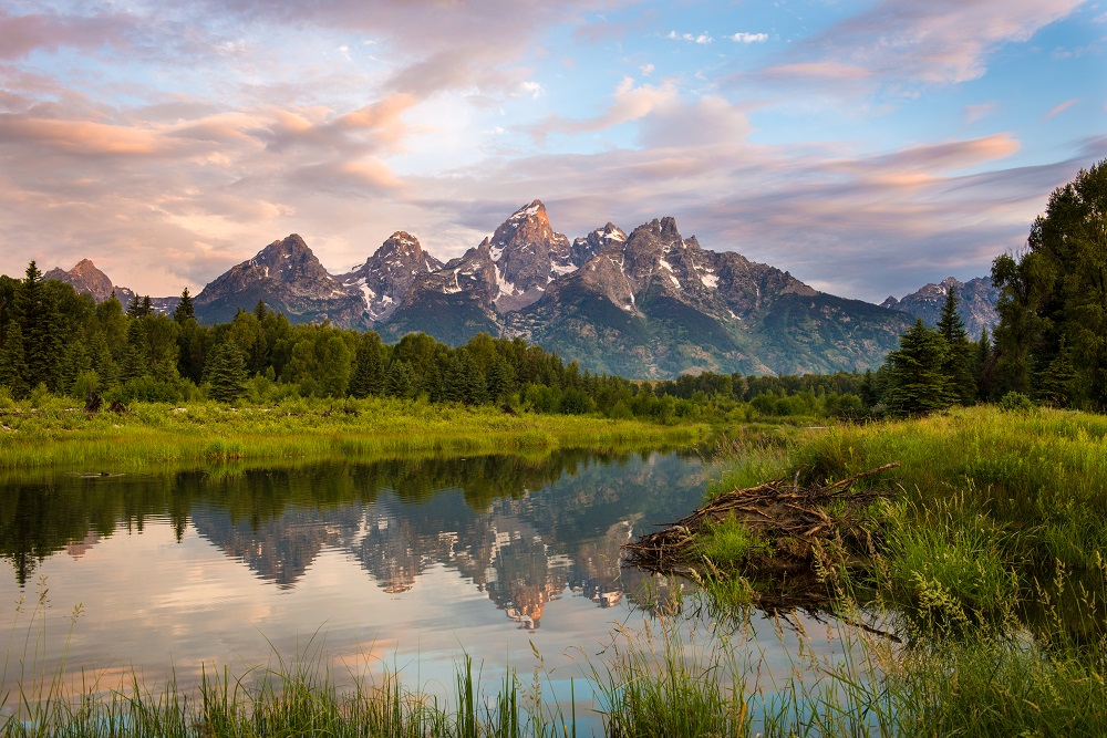 Sunrise at Schwabacher's Landing in Wyoming. Photo: Kristin Trammell Lindsey/Shutterstock