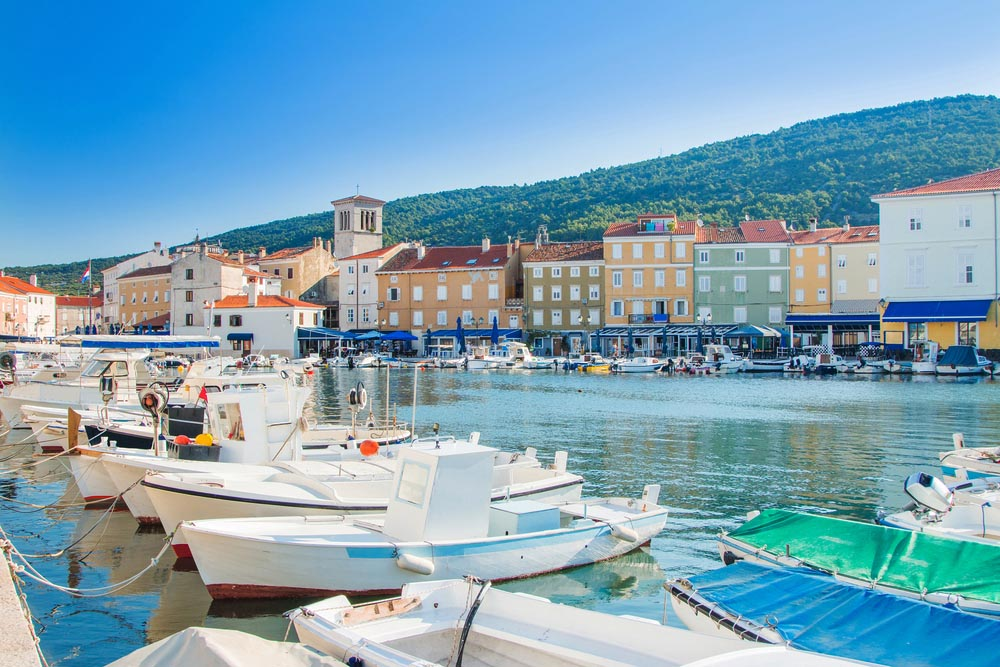 Fishing boats in Cres harbour, Croatia