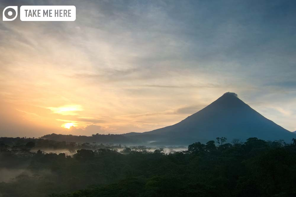 Arenal Volcano at sunrise.