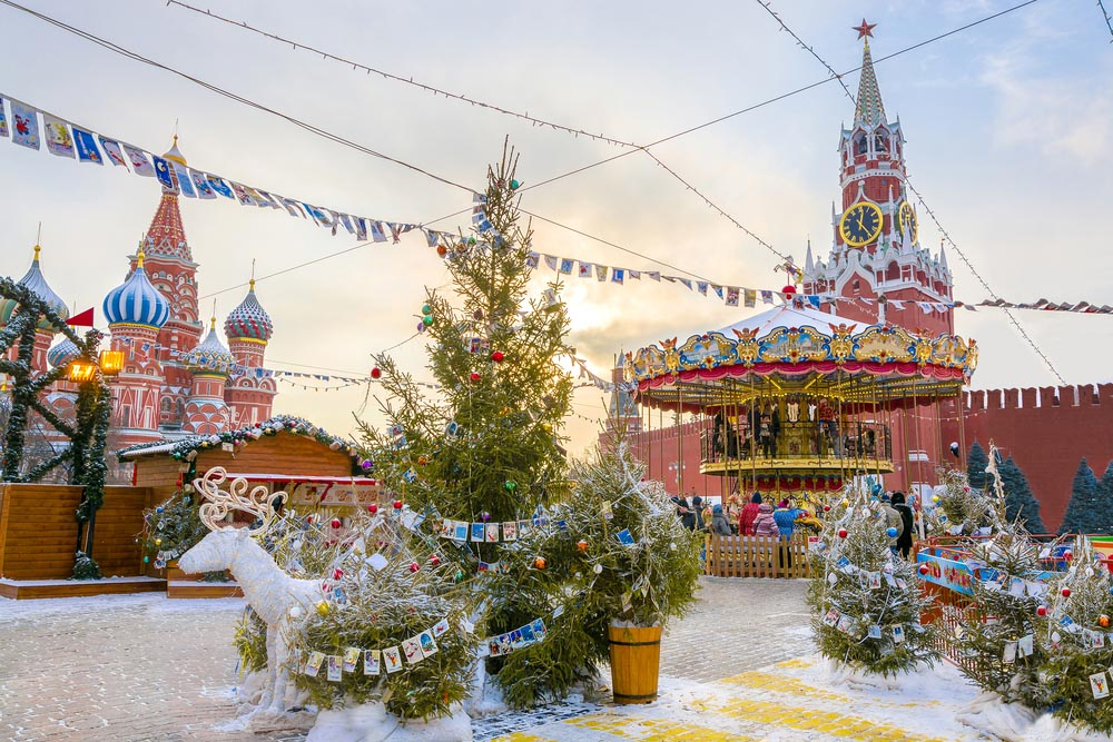 View of Kremlin and Cathedral of St. Basil at the Red Square decorated for New Year and Christmas. Photo: Shutterstock