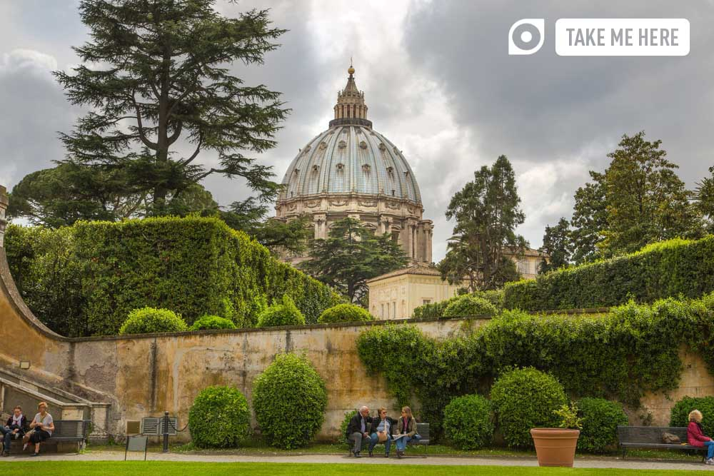 Basilica of Saint Peter. Vatican. View from the garden.