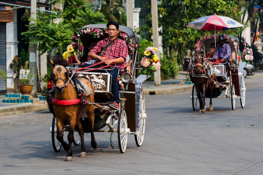 Horse-drawn carriage in the province of Lampang, Thailand.