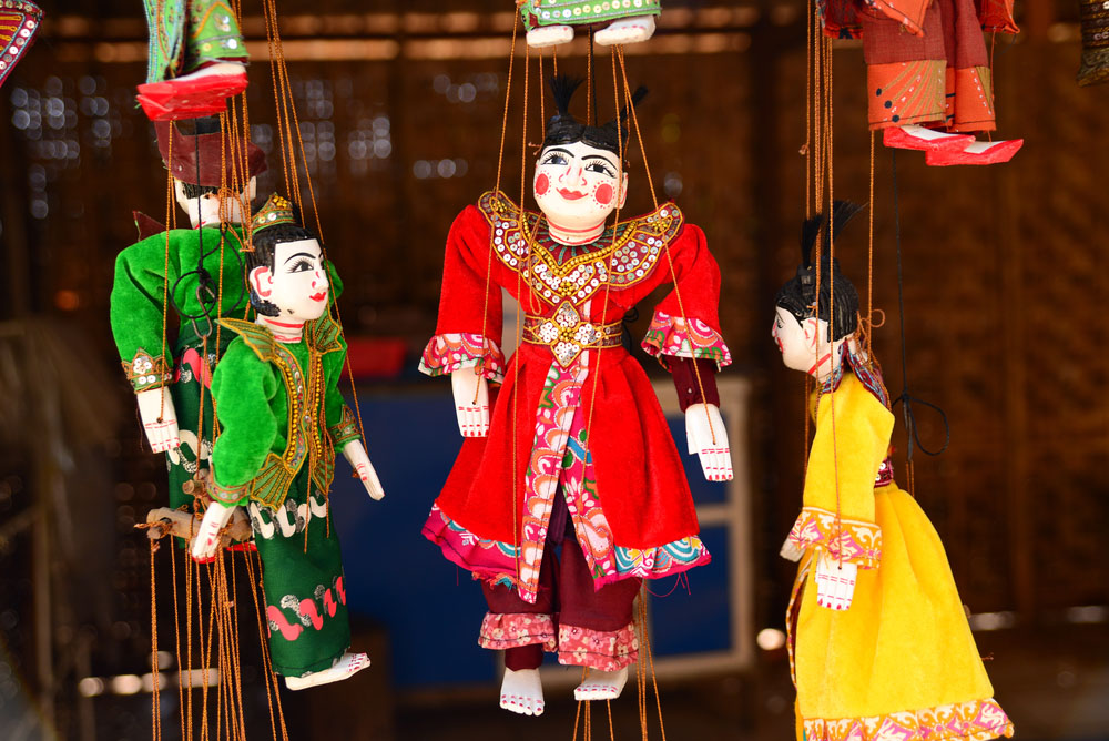 Traditional puppets for sale in Bagan. Photo: Shutterstock