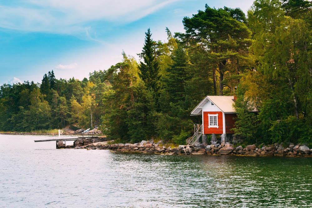 Finnish wooden sauna log cabin.
