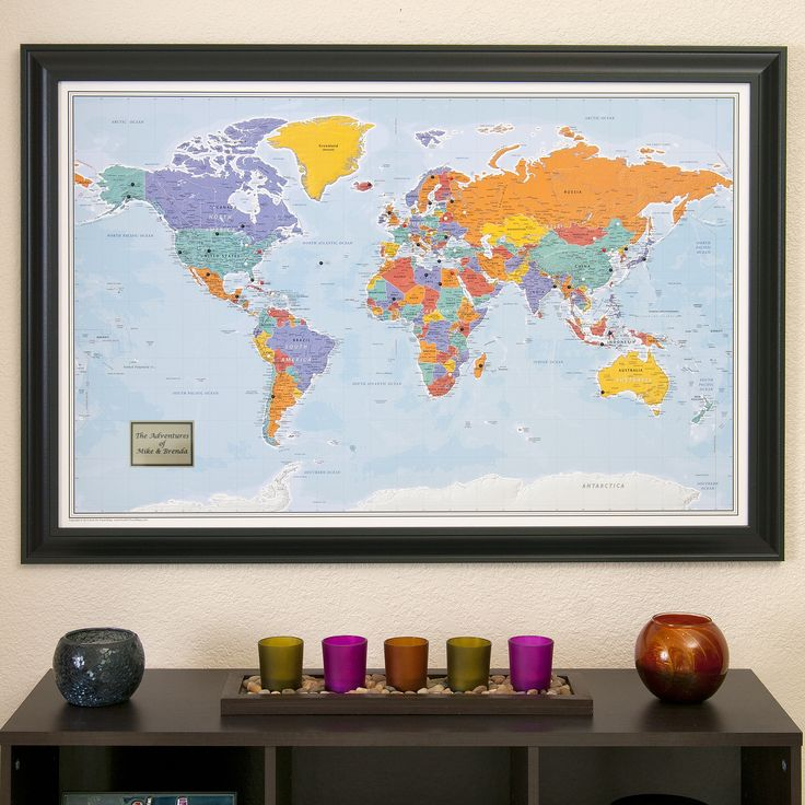 World Travel Map With Pins Blue Oceans