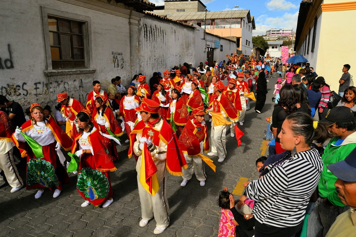 Ecuador, a parade march during La Fiesta de la Mama Negra traditional festival. Photo: Florian Blümm/123RF