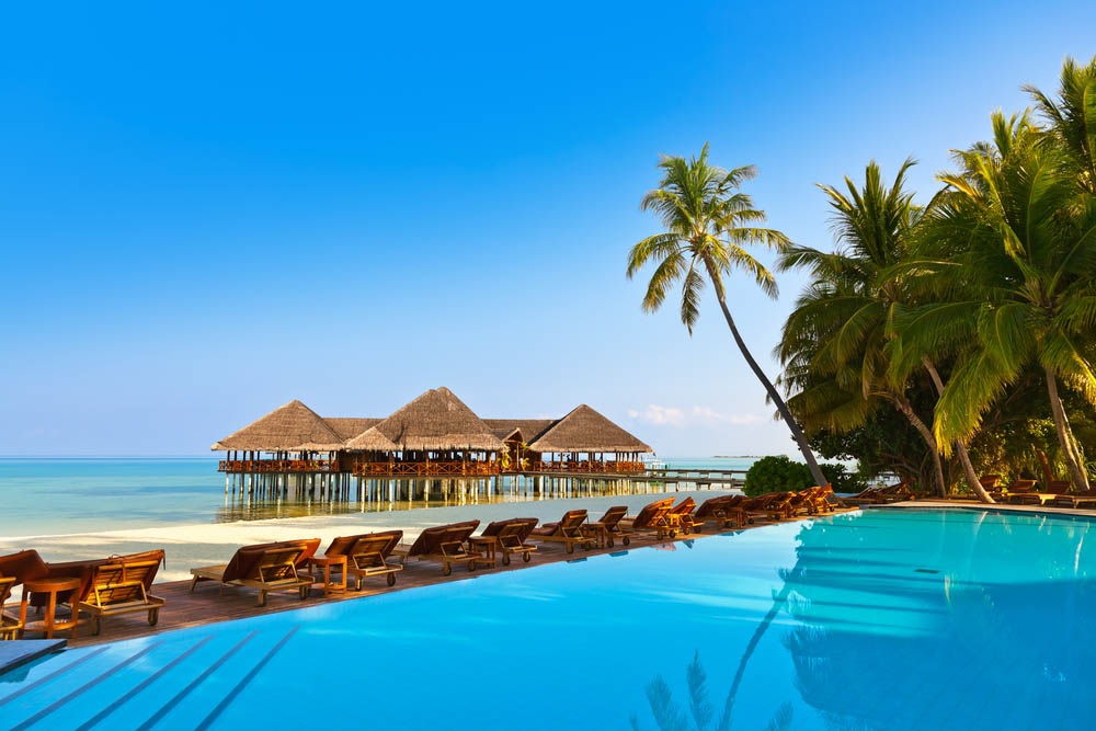 Pool on tropical Maldives island. Photo: Shutterstock