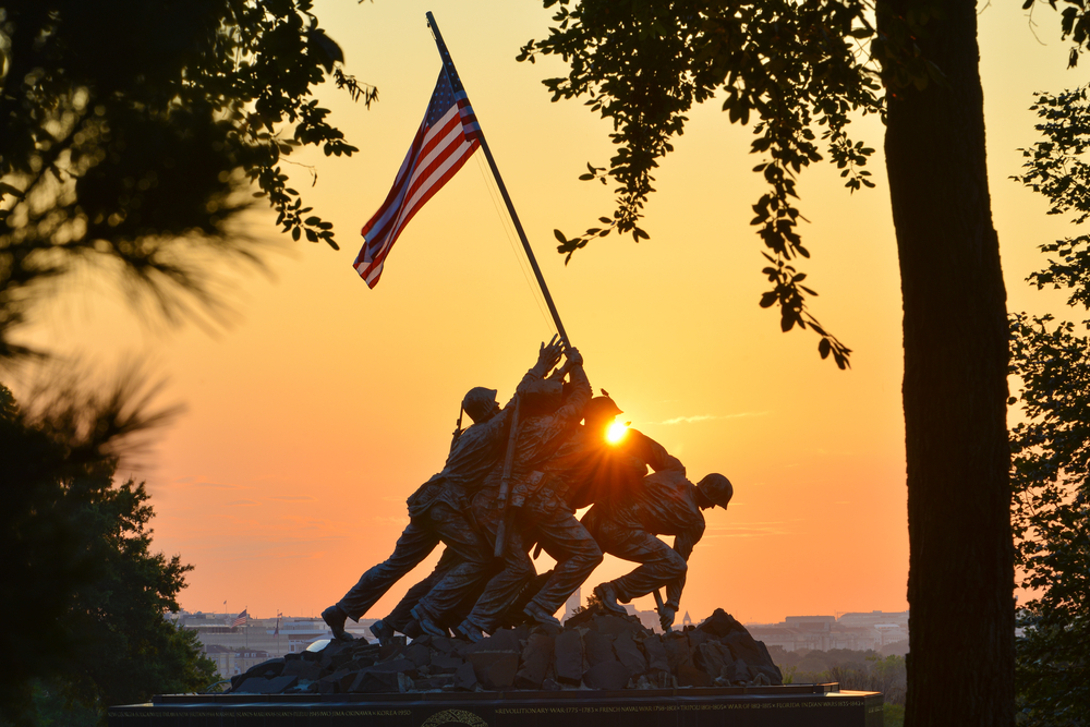 Iwo Jima Memorial in Washington DC. The Memorial honors the Marines who have died defending the US since 1775 and a prominent tourist attraction in Washington DC. Photo: Shutterstock