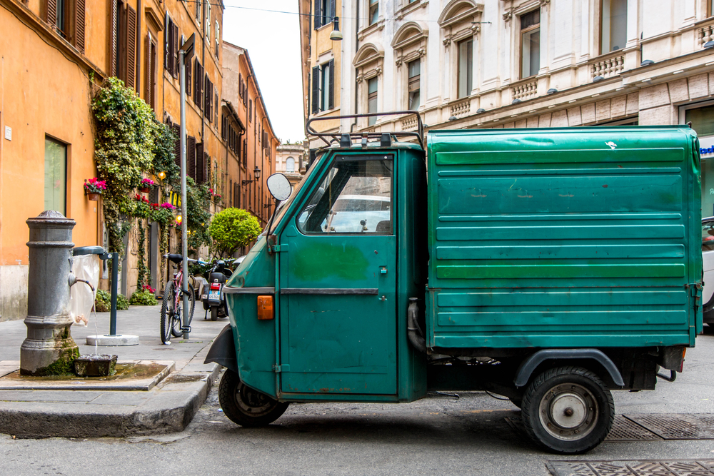 Old market van in the old cobbled streets of Rome.