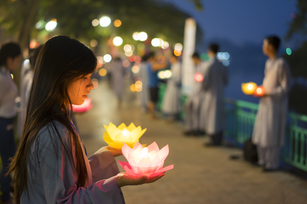 Flower garlands and coloured lanterns are lit to celebrate Buddha's birthday. Photo: Shutterstock