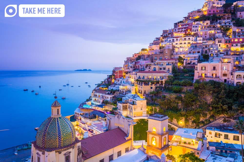 Positano at dusk, on the Amalfi Coast.