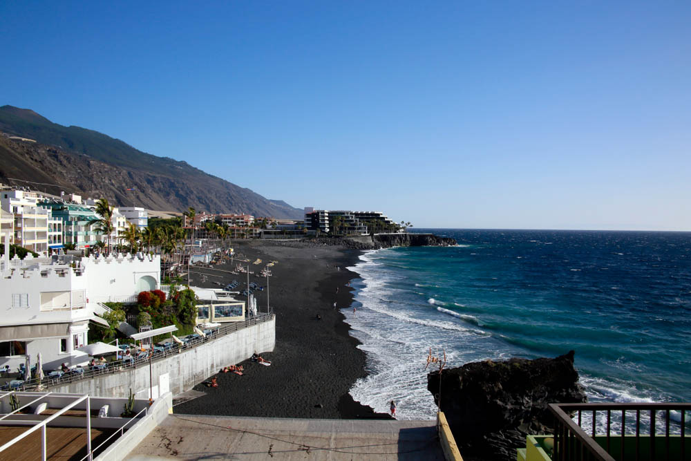 Black sand beach in Puerto Naos, La Palma.