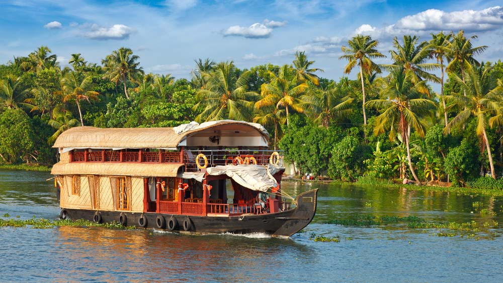 Panorama of tourist houseboat on Kerala backwaters.