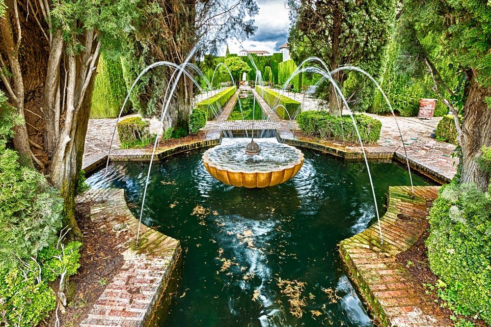 Generalife gardens in the Alhambra complex, Granada.