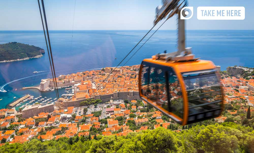 Cable car over Dubrovnik Old Town