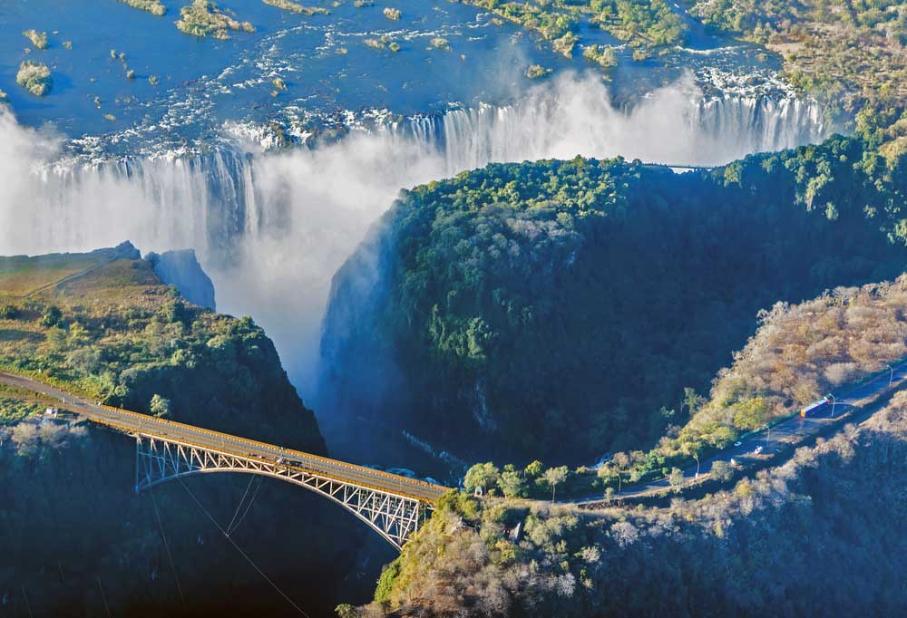 The Victoria falls, the largest curtain of water in the world. Photo: Shutterstock