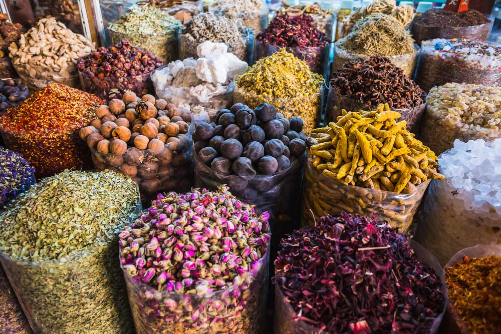 Dried herbs flowers spices in the spice souq at Deira. Photo: Shutterstock