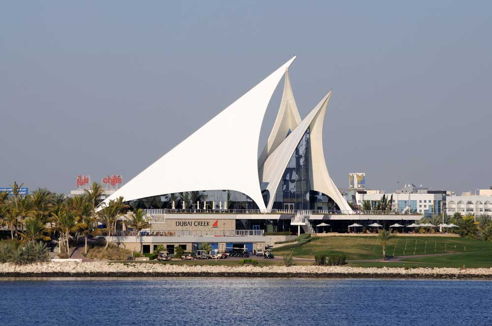 Modern architecture of Dubai Creek Golf & Yacht Club. Photo: Shutterstock