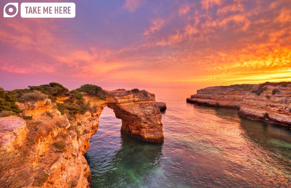 Praia de Albandeira, Algarve at sunset
