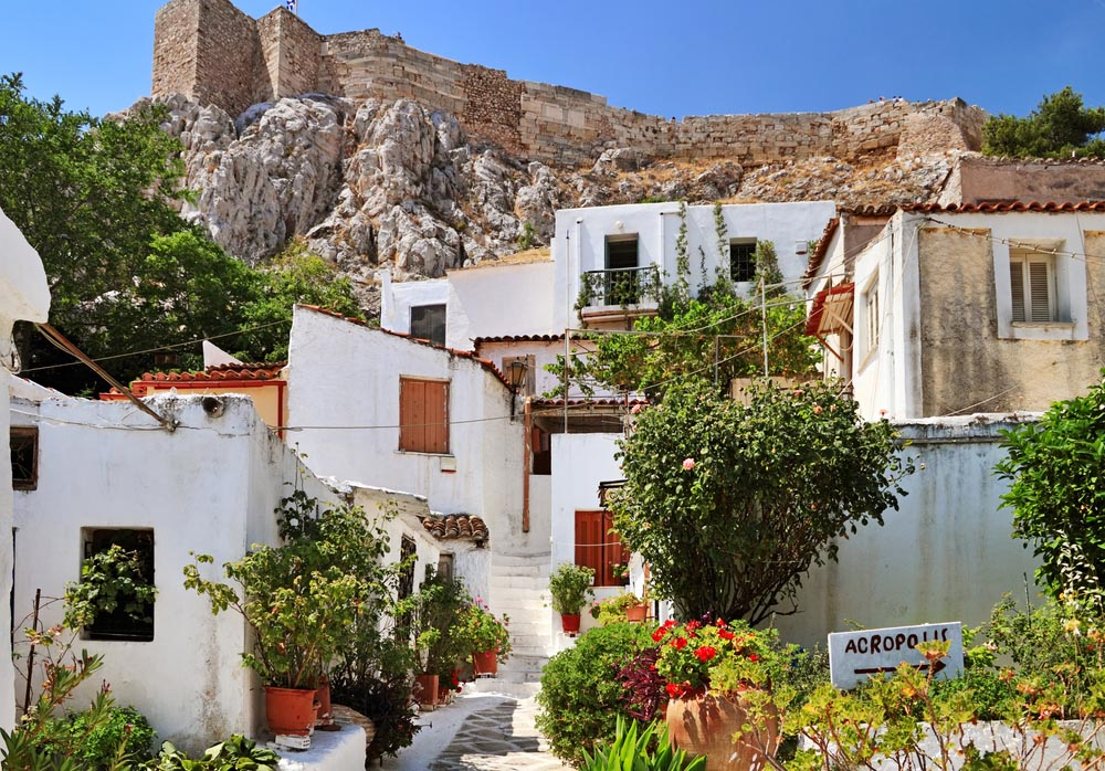 Anafiotika is part of historic Plaka, in the shadow of the Acropolis, Athens.