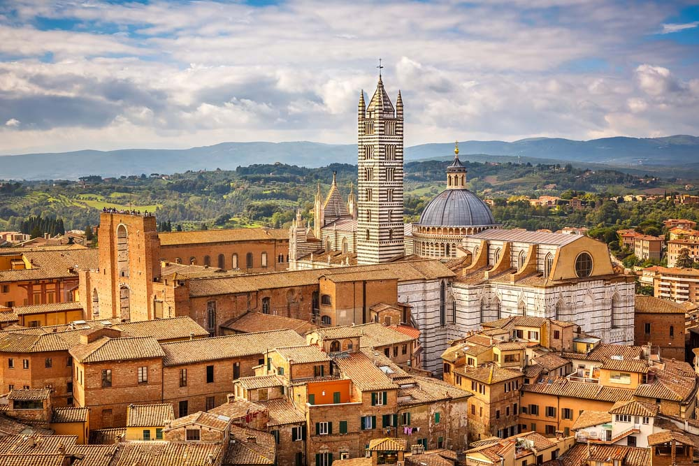 Aerial view over Siena: Siena Cathedral. Photo: Shutterstock