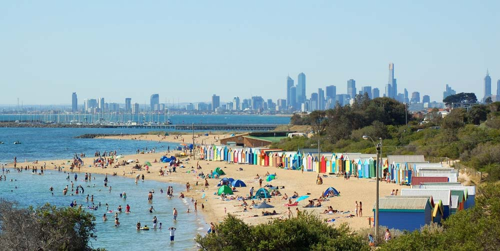 Brighton beach in Melbourne.