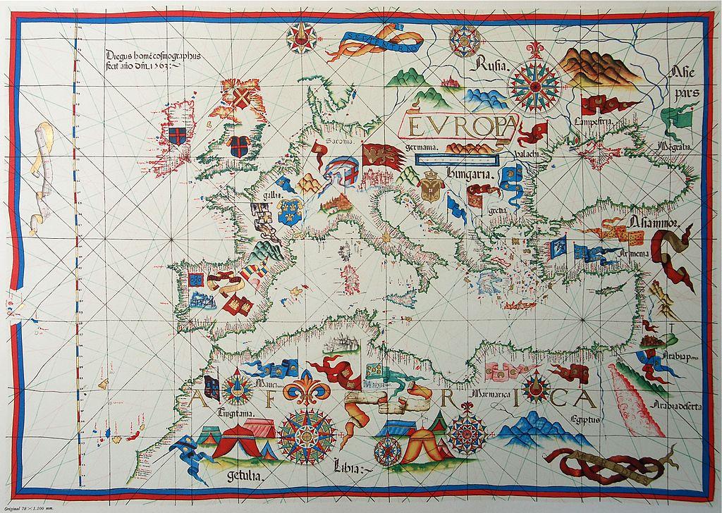 Portolan chart by Diogo Homem, 1563. Biblioteca Nazionale, Florence.