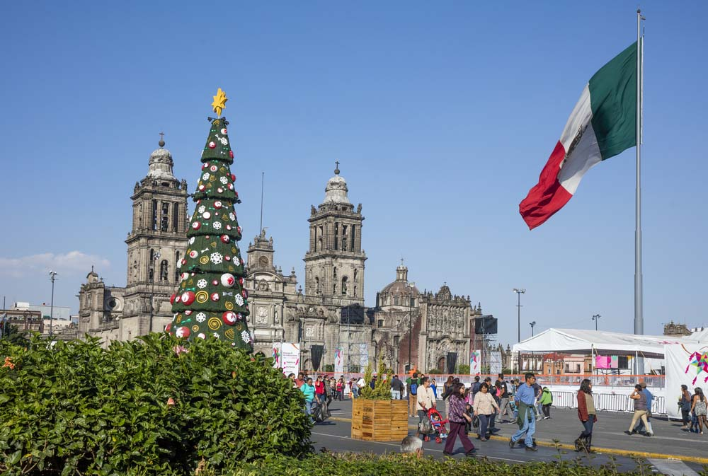 Christmas time on Plaza de la Constitucion, Mexico City. Photo: Shutterstock