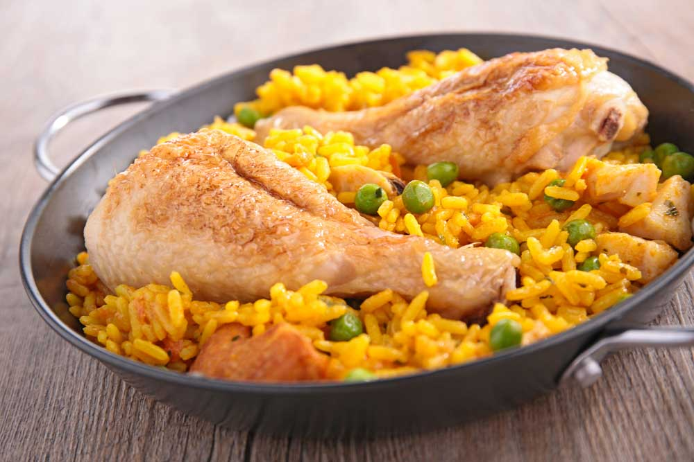 Pollo con arroz: chicken and rice is another typical Chilean dish.