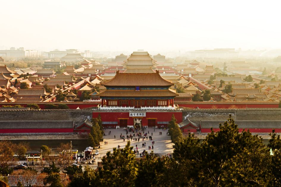 An aerial view of the Forbidden City