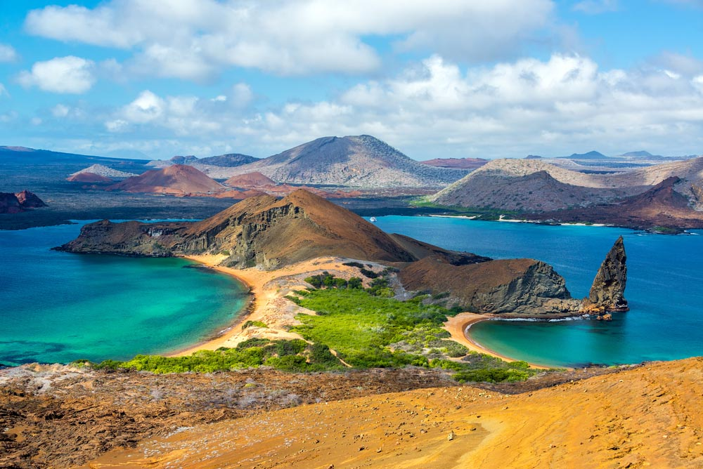View over Bartolomé Island in the Galápagos Islands in Ecuador.