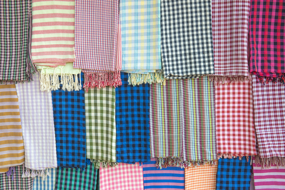 Cambodian karma scarf at local market. Photo: idome/Shutterstock