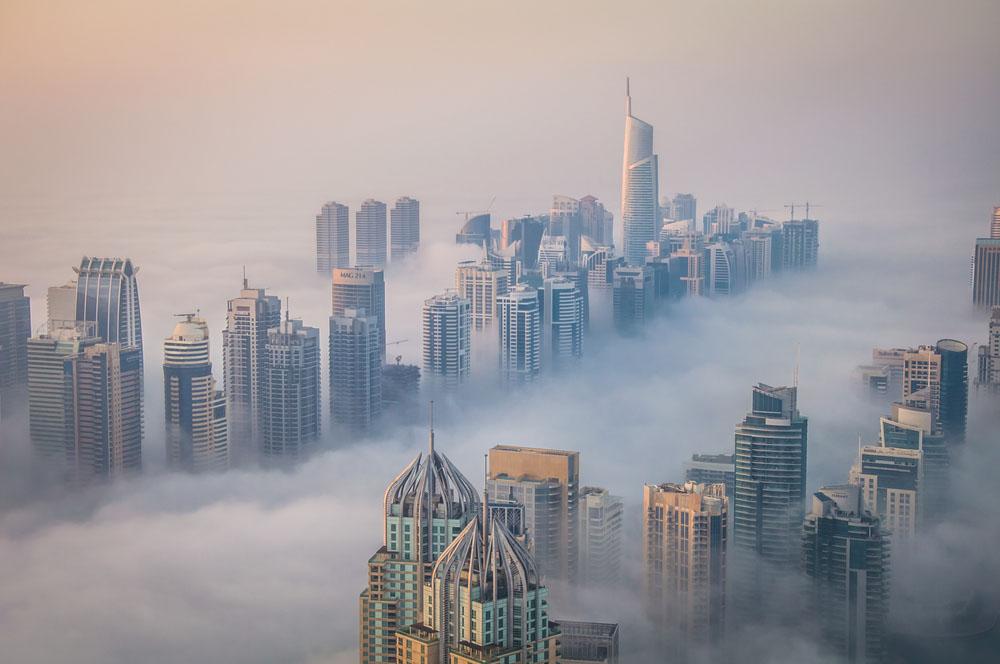 Dubai Marina Skyline Under the fog. Photo: Shutterstock