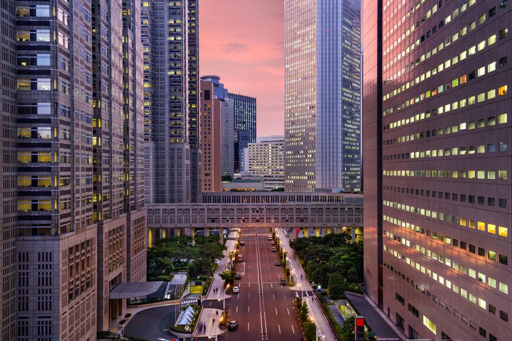 Tokyo, Japan government buildings at Tochomae in Shinjuku district. Photo: Shutterstock