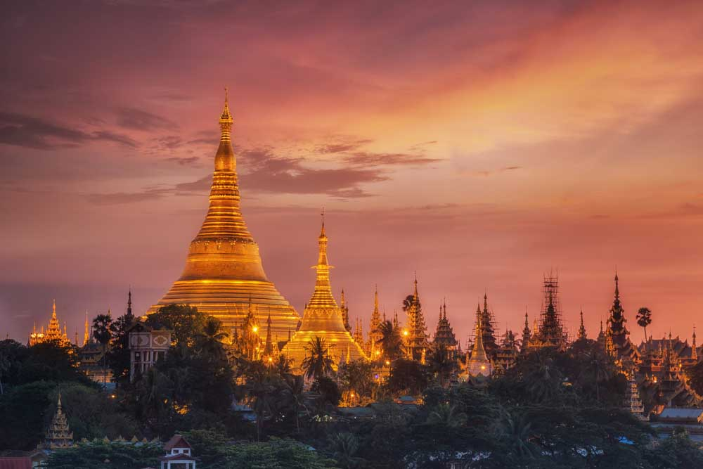 View of Shwedagon Pagoda at dusk.