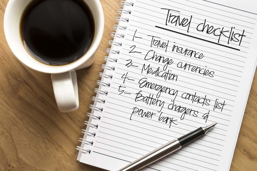 Travel checklist.